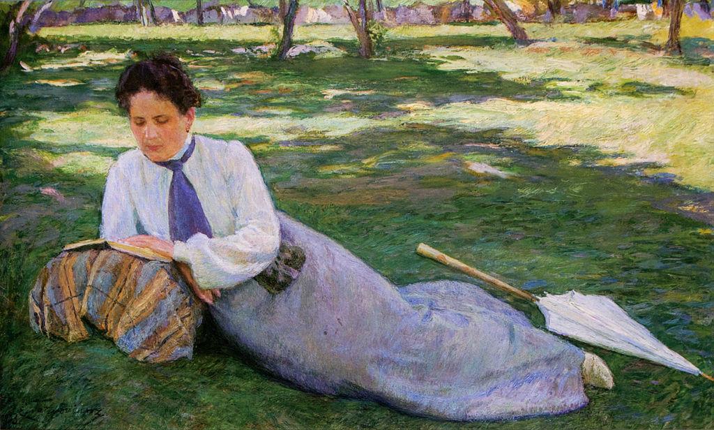 Женщина, читающая в саду (Портрет Жюстины, жены художника) (1903)